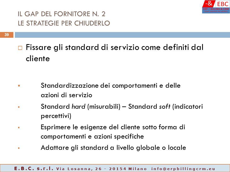 IL GAP DEL FORNITORE N. 2 LE STRATEGIE PER CHIUDERLO  Fissare gli standard di servizio come definiti dal cliente  Standardizzazione dei comportament