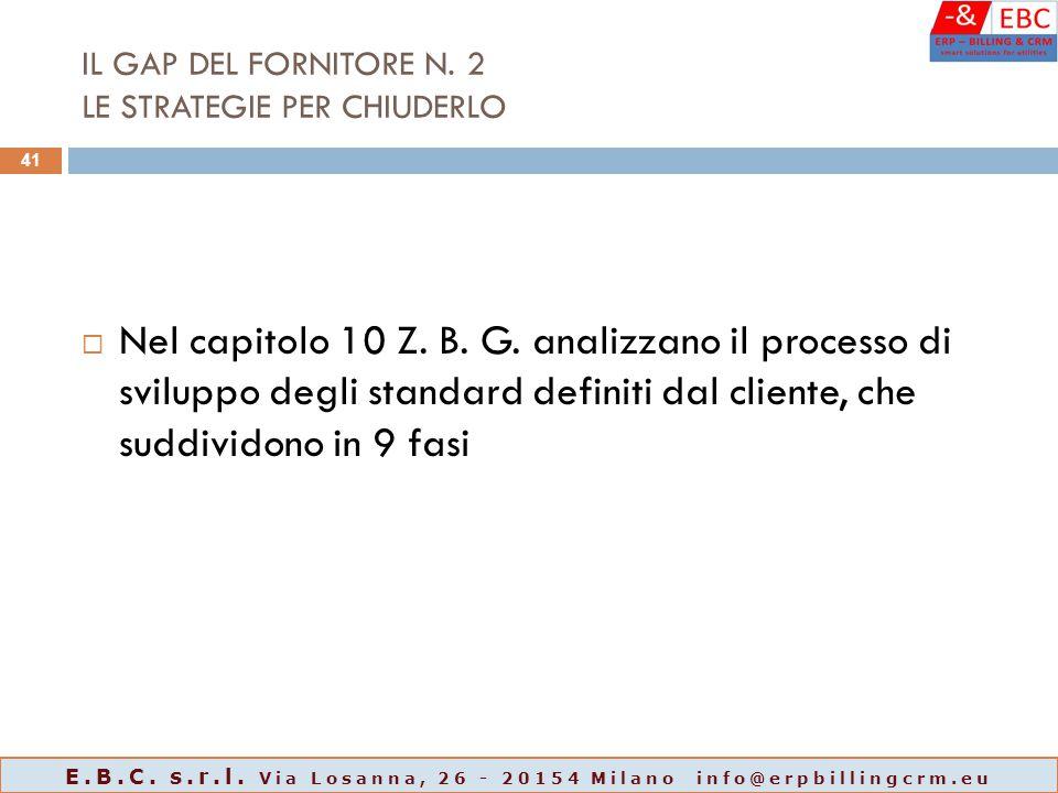 IL GAP DEL FORNITORE N. 2 LE STRATEGIE PER CHIUDERLO  Nel capitolo 10 Z. B. G. analizzano il processo di sviluppo degli standard definiti dal cliente