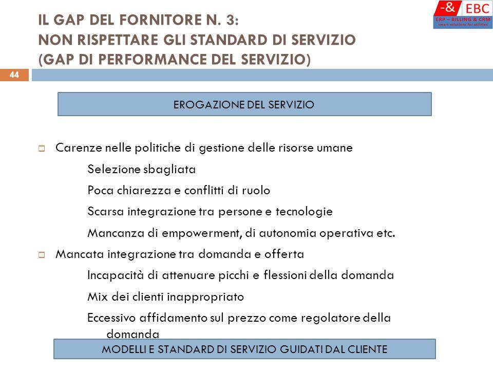 IL GAP DEL FORNITORE N. 3: NON RISPETTARE GLI STANDARD DI SERVIZIO (GAP DI PERFORMANCE DEL SERVIZIO)  Carenze nelle politiche di gestione delle risor