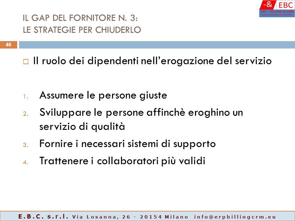 IL GAP DEL FORNITORE N. 3: LE STRATEGIE PER CHIUDERLO  Il ruolo dei dipendenti nell'erogazione del servizio 1. Assumere le persone giuste 2. Sviluppa