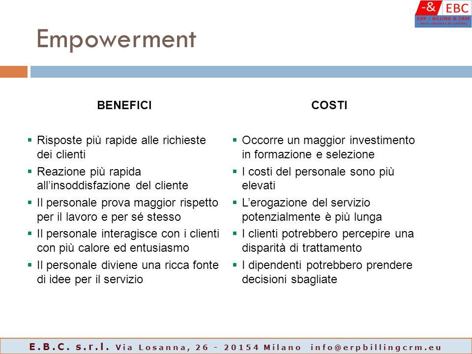 Empowerment BENEFICICOSTI  Risposte più rapide alle richieste dei clienti  Reazione più rapida all'insoddisfazione del cliente  Il personale prova