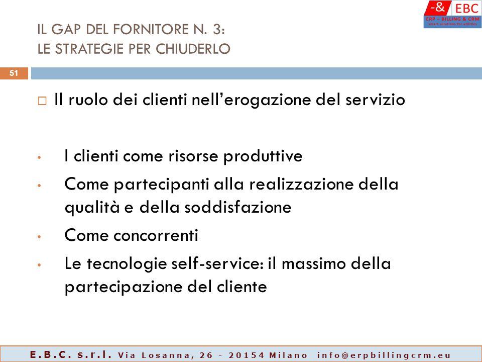 IL GAP DEL FORNITORE N. 3: LE STRATEGIE PER CHIUDERLO  Il ruolo dei clienti nell'erogazione del servizio I clienti come risorse produttive Come parte