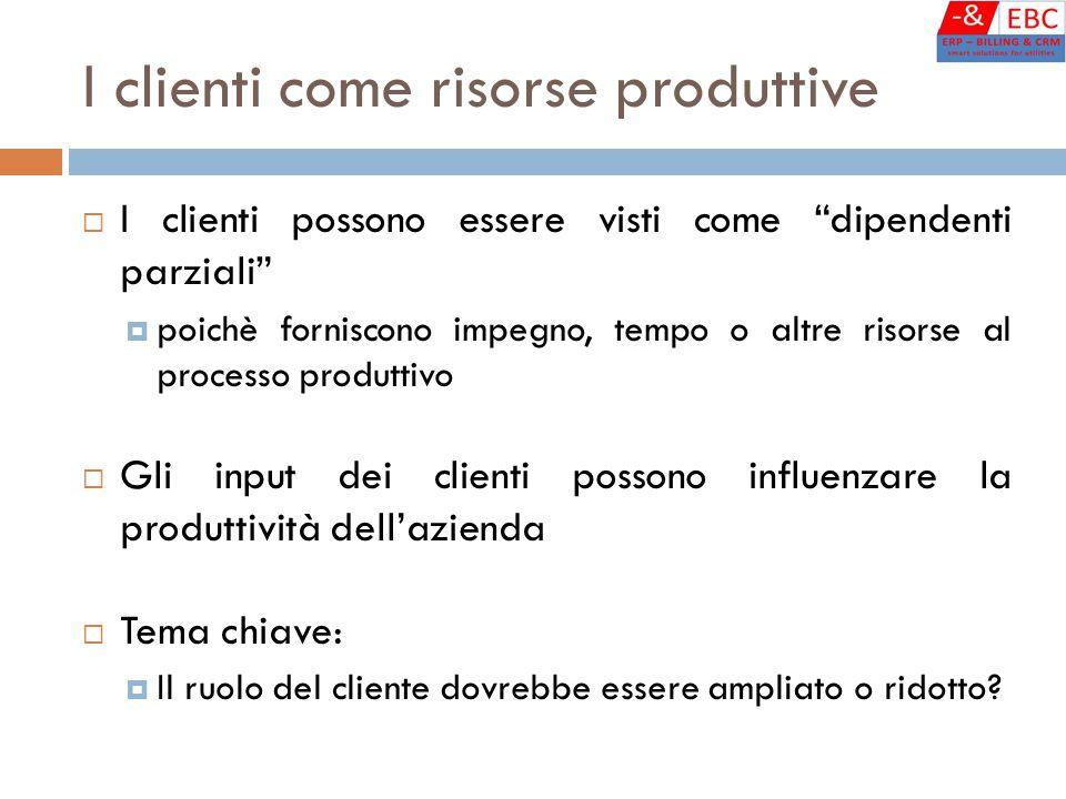 """I clienti come risorse produttive  I clienti possono essere visti come """"dipendenti parziali""""  poichè forniscono impegno, tempo o altre risorse al pr"""