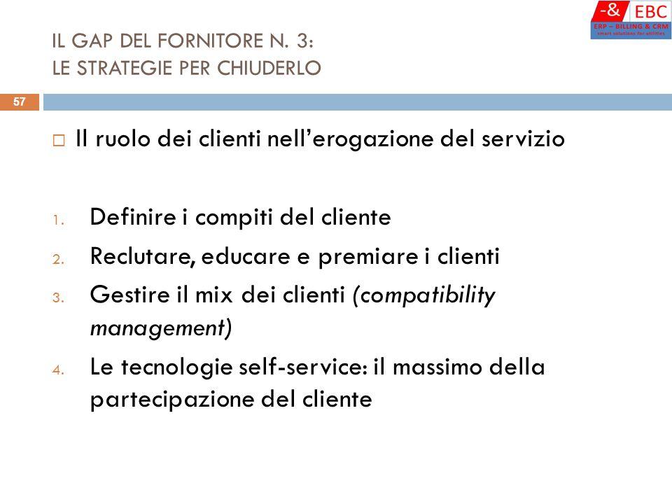 IL GAP DEL FORNITORE N. 3: LE STRATEGIE PER CHIUDERLO  Il ruolo dei clienti nell'erogazione del servizio 1. Definire i compiti del cliente 2. Recluta
