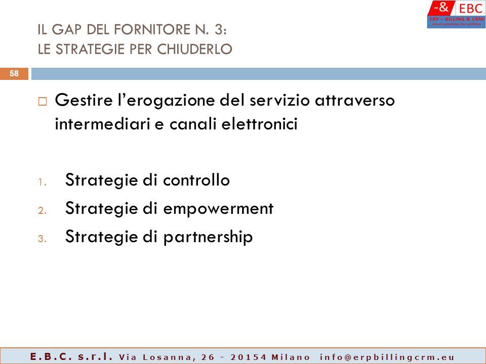 IL GAP DEL FORNITORE N. 3: LE STRATEGIE PER CHIUDERLO  Gestire l'erogazione del servizio attraverso intermediari e canali elettronici 1. Strategie di
