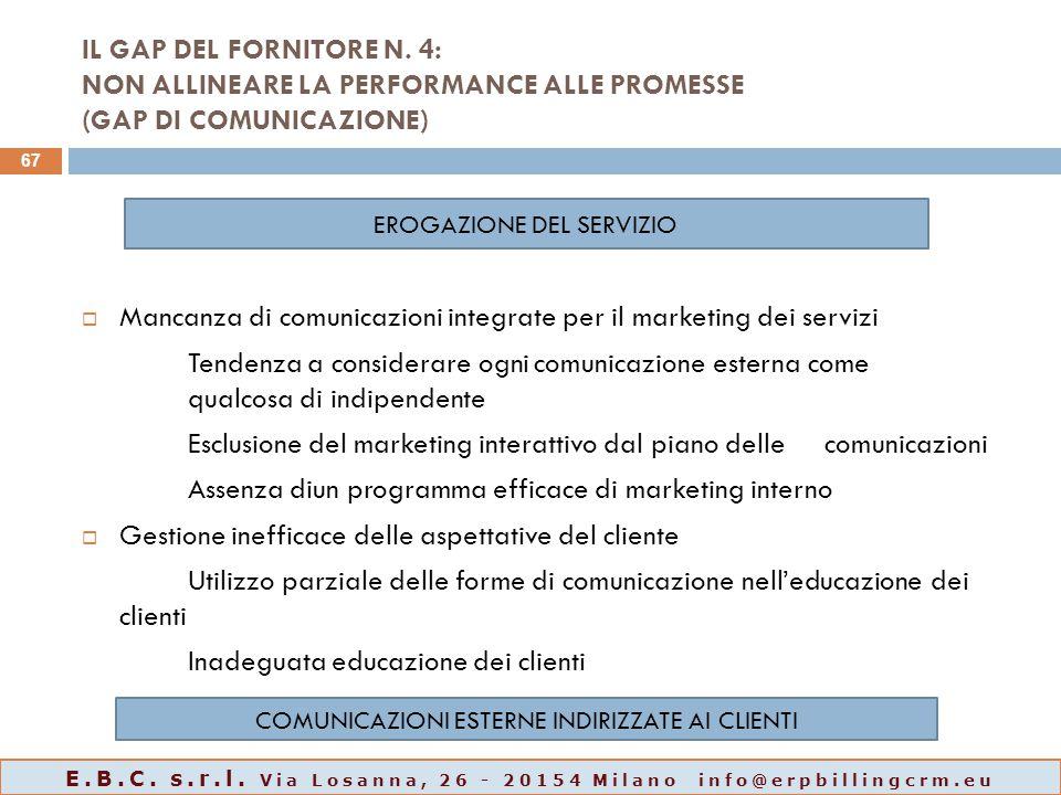 IL GAP DEL FORNITORE N. 4: NON ALLINEARE LA PERFORMANCE ALLE PROMESSE (GAP DI COMUNICAZIONE)  Mancanza di comunicazioni integrate per il marketing de