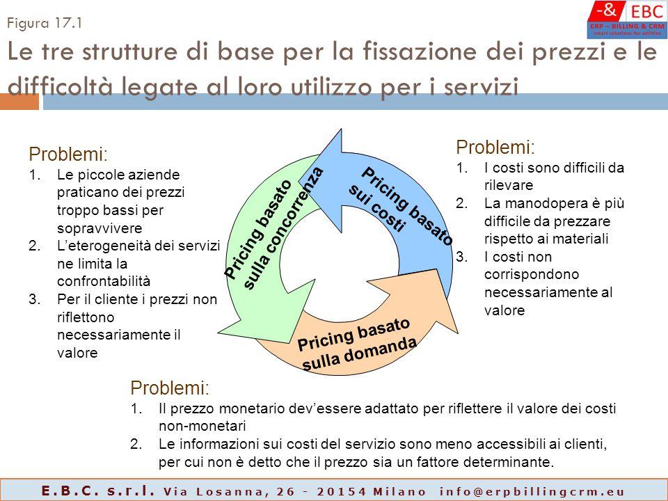 Figura 17.1 Le tre strutture di base per la fissazione dei prezzi e le difficoltà legate al loro utilizzo per i servizi Pricing basato sulla domanda P