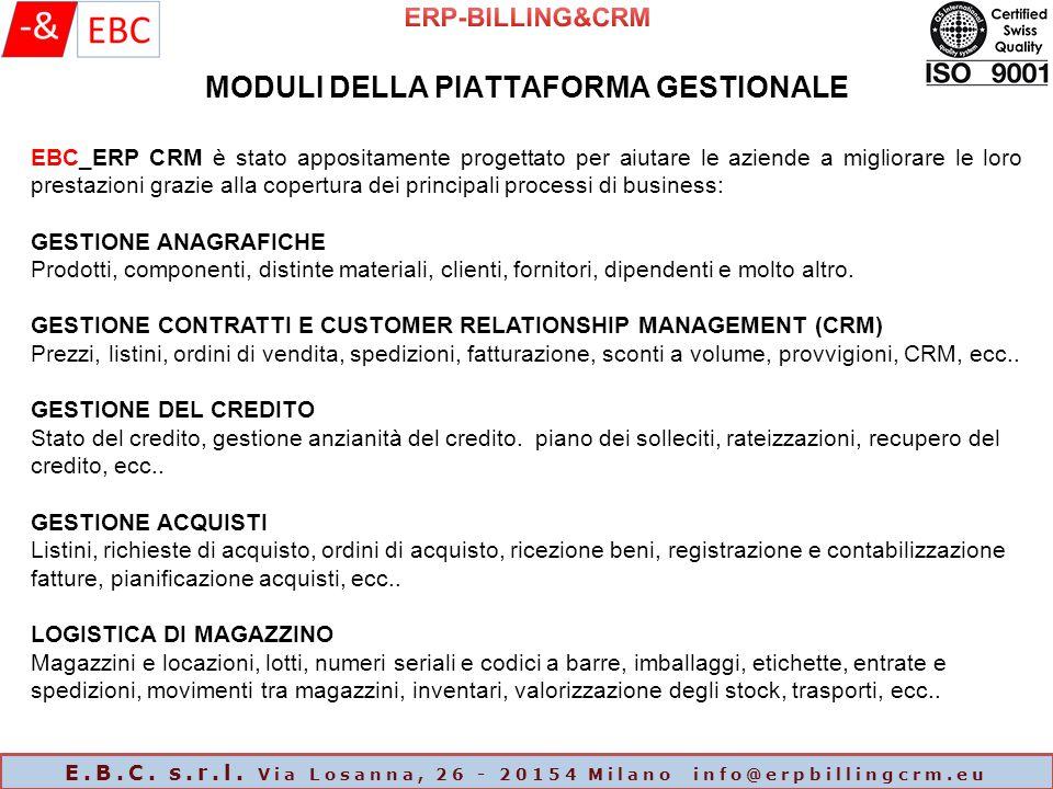 MODULI DELLA PIATTAFORMA GESTIONALE E.B.C. s.r.l.