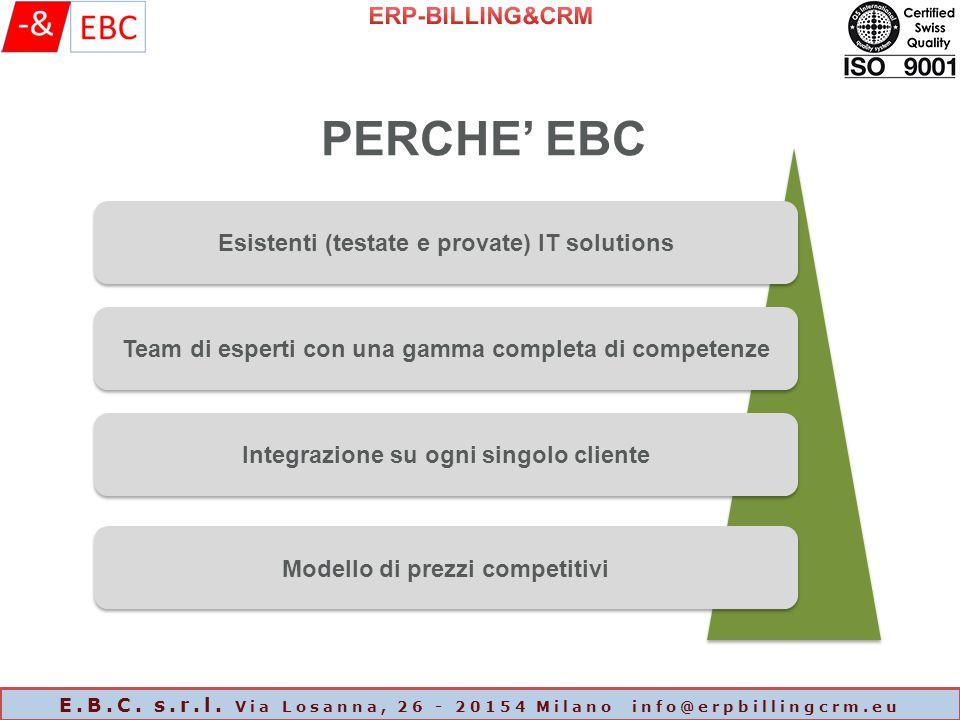 PERCHE' EBC Esistenti (testate e provate) IT solutions Team di esperti con una gamma completa di competenze Integrazione su ogni singolo cliente Modello di prezzi competitivi E.B.C.