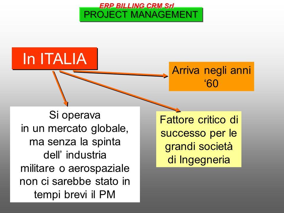 In ITALIA Si operava in un mercato globale, ma senza la spinta dell' industria militare o aerospaziale non ci sarebbe stato in tempi brevi il PM Fattore critico di successo per le grandi società di Ingegneria Arriva negli anni '60 PROJECT MANAGEMENT ERP BILLING CRM Srl