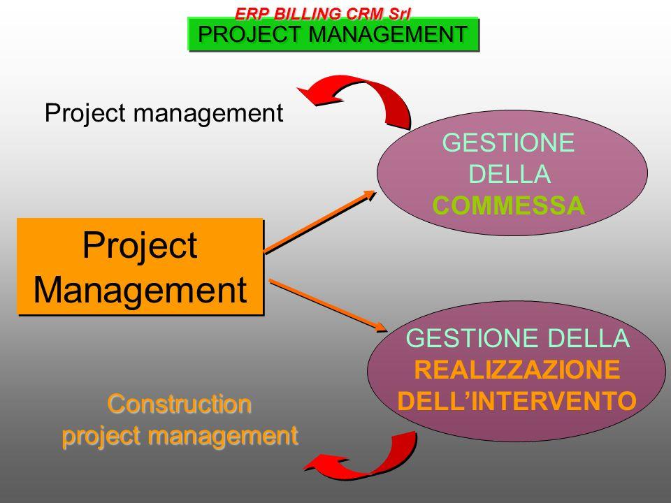 Project Management GESTIONE DELLA REALIZZAZIONE DELL'INTERVENTO GESTIONE DELLA COMMESSA PROJECT MANAGEMENT Construction project management Project management ERP BILLING CRM Srl