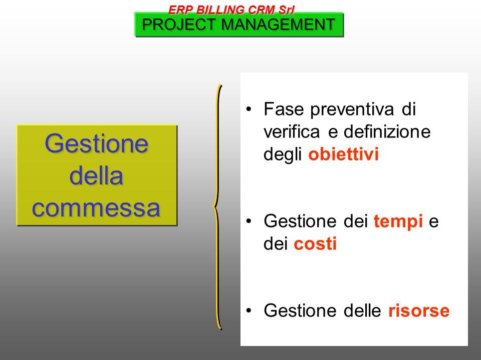 Gestione della commessa Fase preventiva di verifica e definizione degli obiettivi Gestione dei tempi e dei costi Gestione delle risorse PROJECT MANAGEMENT ERP BILLING CRM Srl
