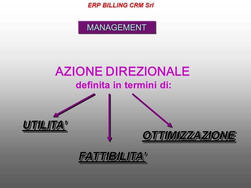 MANAGEMENT AZIONE DIREZIONALE definita in termini di:FATTIBILITA'FATTIBILITA' UTILITA'UTILITA' OTTIMIZZAZIONEOTTIMIZZAZIONE ERP BILLING CRM Srl
