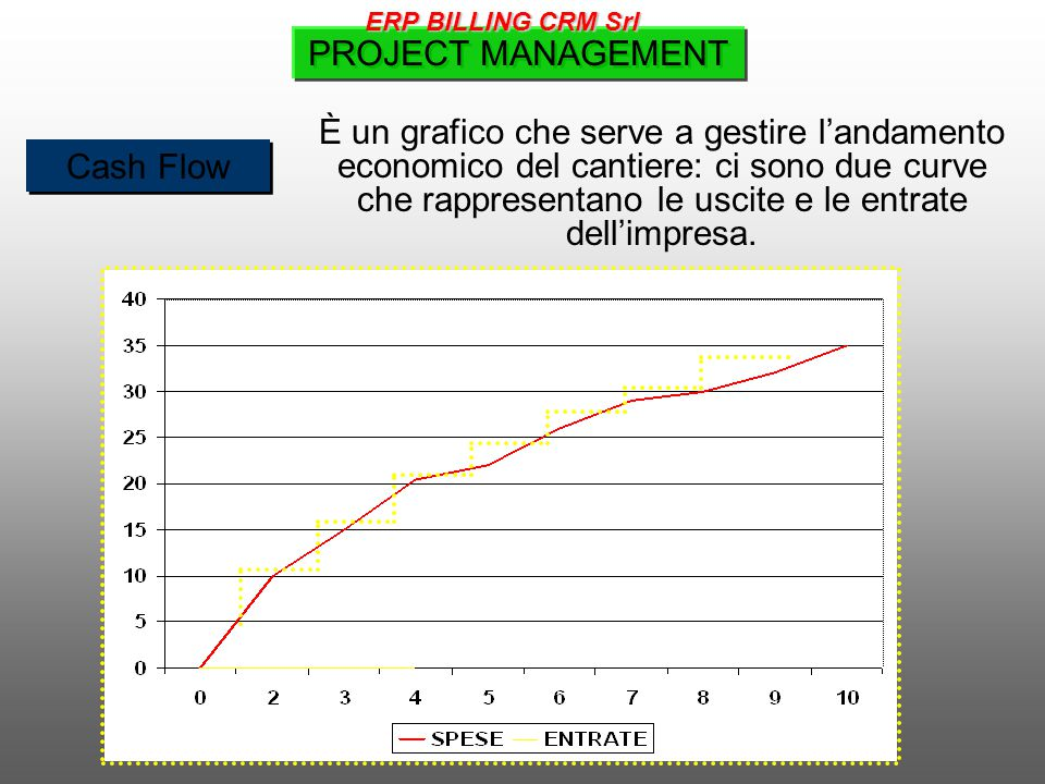 Cash Flow È un grafico che serve a gestire l'andamento economico del cantiere: ci sono due curve che rappresentano le uscite e le entrate dell'impresa.