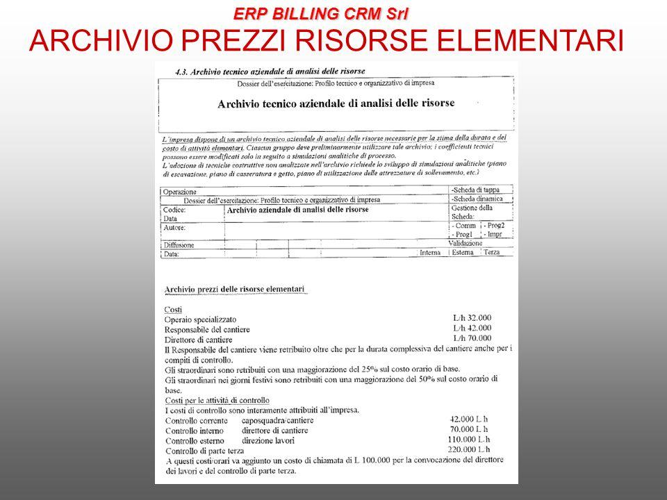 ARCHIVIO PREZZI RISORSE ELEMENTARI ERP BILLING CRM Srl