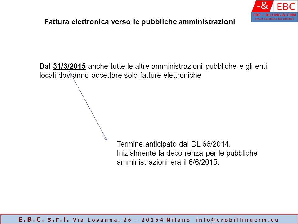 Dal 31/3/2015 anche tutte le altre amministrazioni pubbliche e gli enti locali dovranno accettare solo fatture elettroniche Fattura elettronica verso