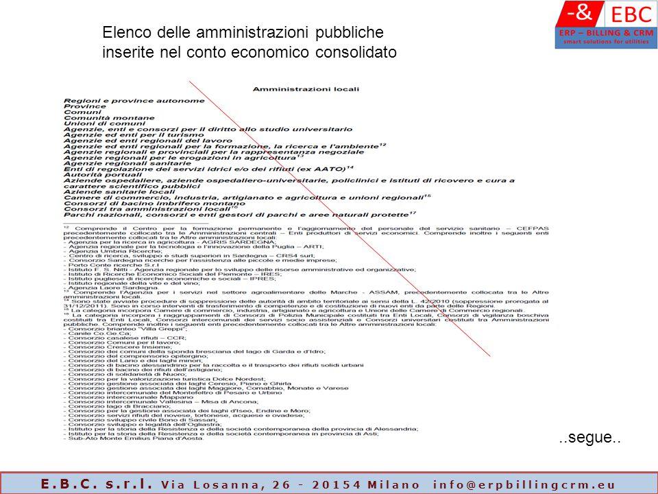 Elenco delle amministrazioni pubbliche inserite nel conto economico consolidato..segue.. E.B.C. s.r.l. Via Losanna, 26 - 20154 Milano info@erpbillingc