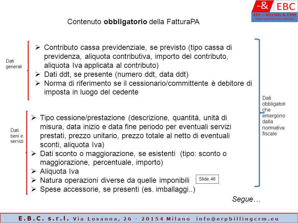 Contenuto obbligatorio della FatturaPA  Contributo cassa previdenziale, se previsto (tipo cassa di previdenza, aliquota contributiva, importo del con