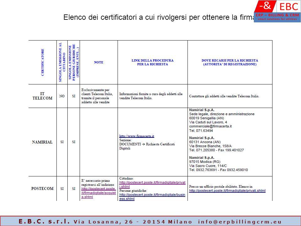 Elenco dei certificatori a cui rivolgersi per ottenere la firma E.B.C. s.r.l. Via Losanna, 26 - 20154 Milano info@erpbillingcrm.eu