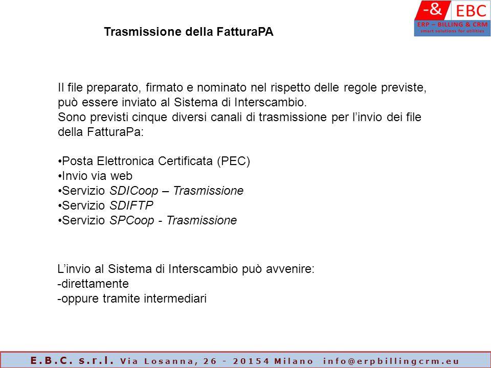Trasmissione della FatturaPA Il file preparato, firmato e nominato nel rispetto delle regole previste, può essere inviato al Sistema di Interscambio.