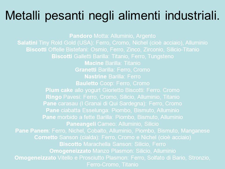 Metalli pesanti negli alimenti industriali. Pandoro Motta: Alluminio, Argento Salatini Tiny Rold Gold (USA): Ferro, Cromo, Nichel (cioè acciaio), Allu