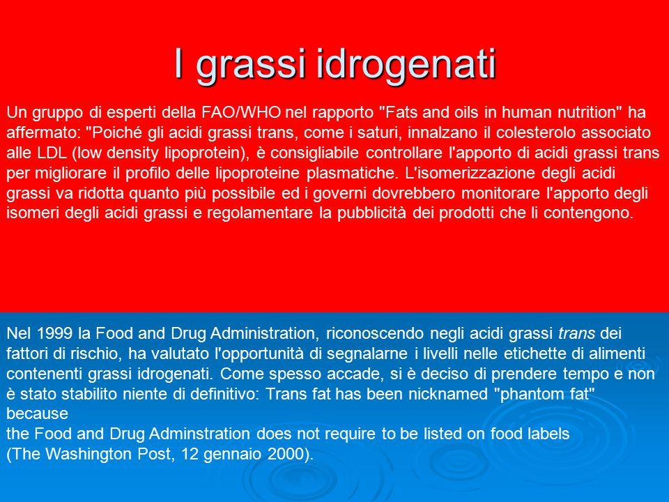 I grassi idrogenati Un gruppo di esperti della FAO/WHO nel rapporto