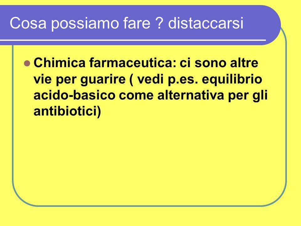 Cosa possiamo fare ? distaccarsi Chimica farmaceutica: ci sono altre vie per guarire ( vedi p.es. equilibrio acido-basico come alternativa per gli ant