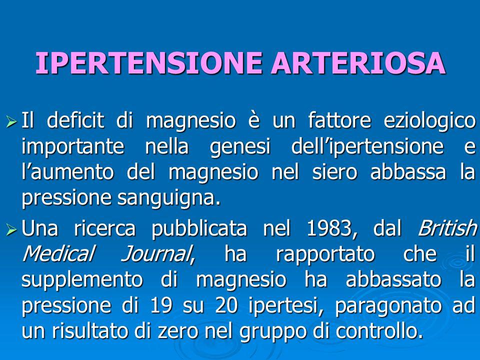 Il deficit di magnesio è un fattore eziologico importante nella genesi dell'ipertensione e l'aumento del magnesio nel siero abbassa la pressione san