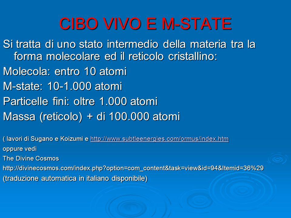 CIBO VIVO E M-STATE Si tratta di uno stato intermedio della materia tra la forma molecolare ed il reticolo cristallino: Molecola: entro 10 atomi M-sta