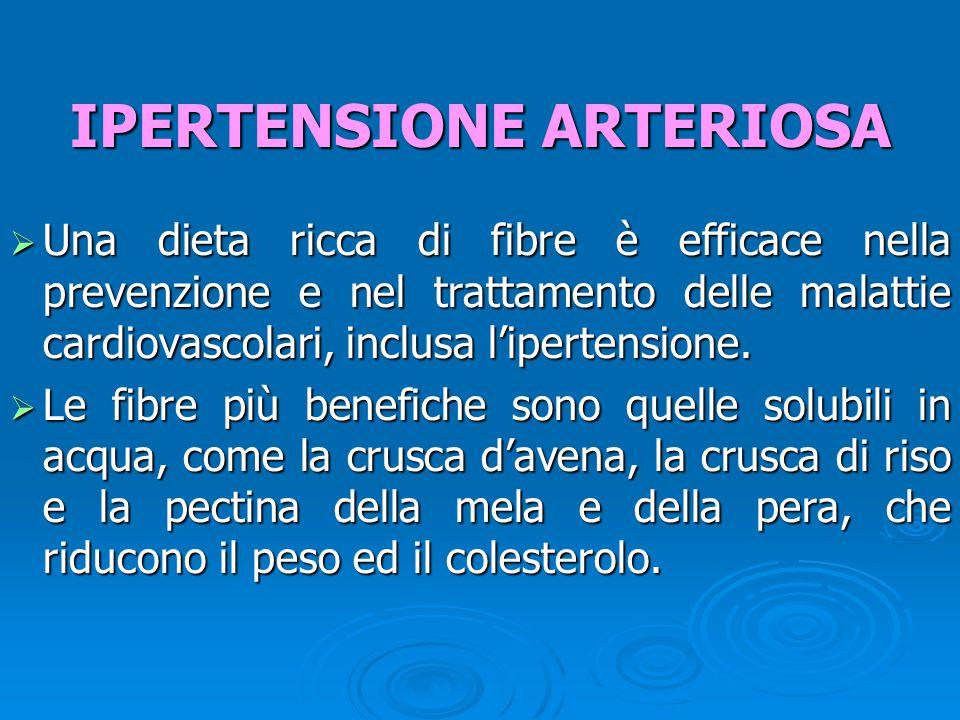  Una dieta ricca di fibre è efficace nella prevenzione e nel trattamento delle malattie cardiovascolari, inclusa l'ipertensione.  Le fibre più benef