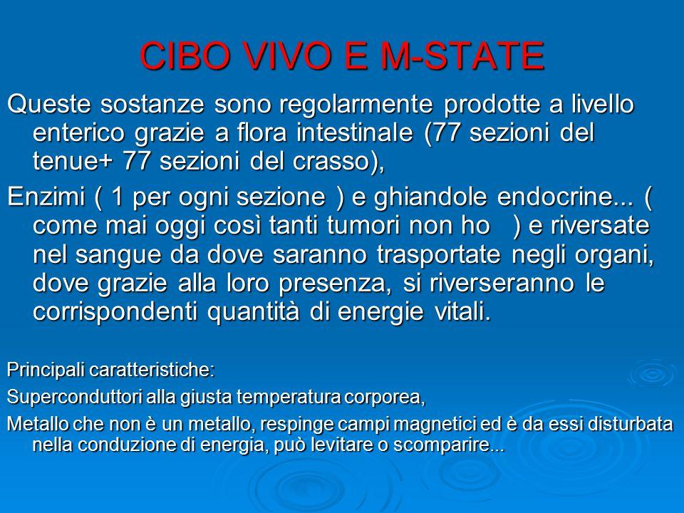 CIBO VIVO E M-STATE Queste sostanze sono regolarmente prodotte a livello enterico grazie a flora intestinale (77 sezioni del tenue+ 77 sezioni del cra