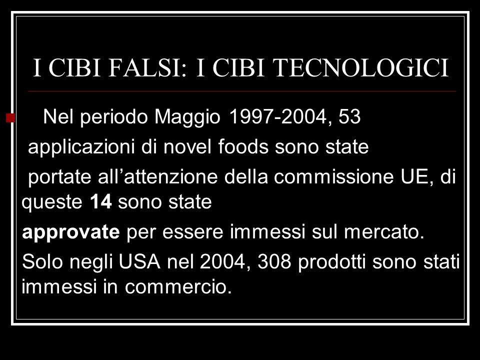 I CIBI FALSI: I CIBI TECNOLOGICI Nel periodo Maggio 1997-2004, 53 applicazioni di novel foods sono state portate all'attenzione della commissione UE,