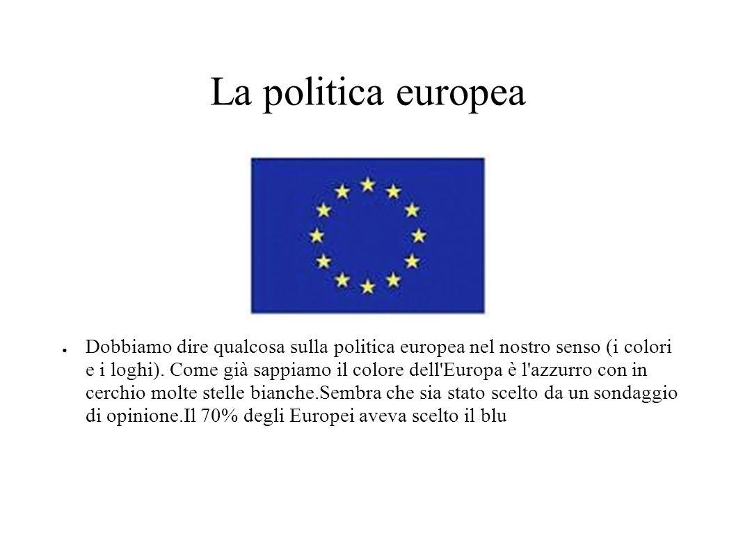 La politica europea ● Dobbiamo dire qualcosa sulla politica europea nel nostro senso (i colori e i loghi).