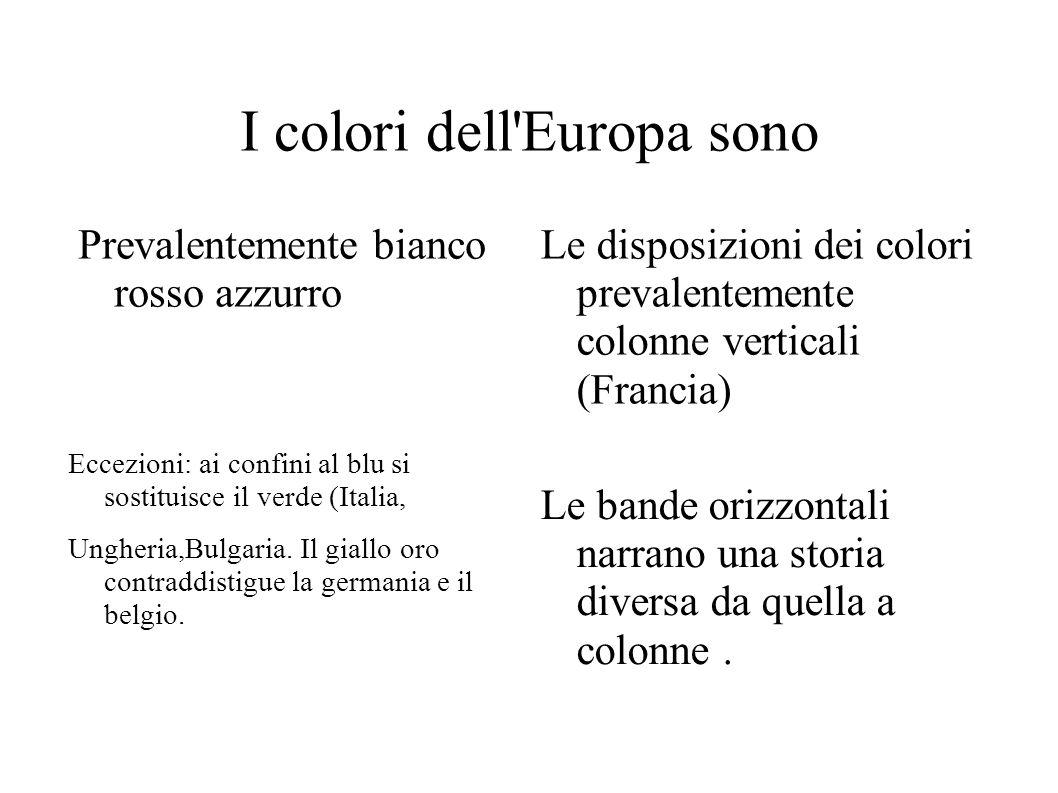 I colori dell Europa sono Prevalentemente bianco rosso azzurro Le disposizioni dei colori prevalentemente colonne verticali (Francia) Le bande orizzontali narrano una storia diversa da quella a colonne.