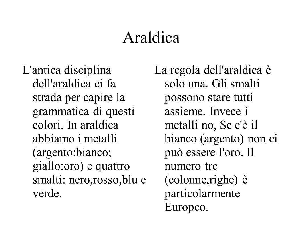Araldica L antica disciplina dell araldica ci fa strada per capire la grammatica di questi colori.