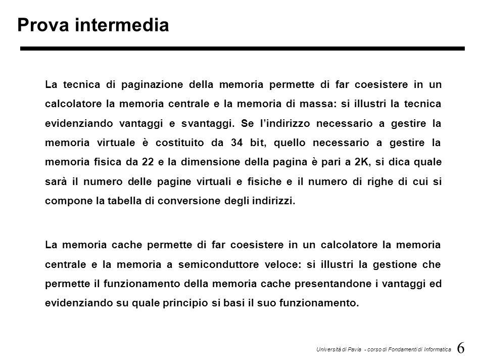 6 Università di Pavia - corso di Fondamenti di Informatica Prova intermedia La tecnica di paginazione della memoria permette di far coesistere in un c