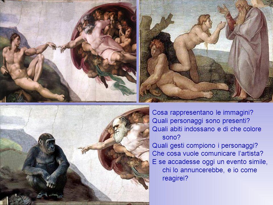 Cosa rappresentano le immagini? Quali personaggi sono presenti? Quali abiti indossano e di che colore sono? Quali gesti compiono i personaggi? Che cos