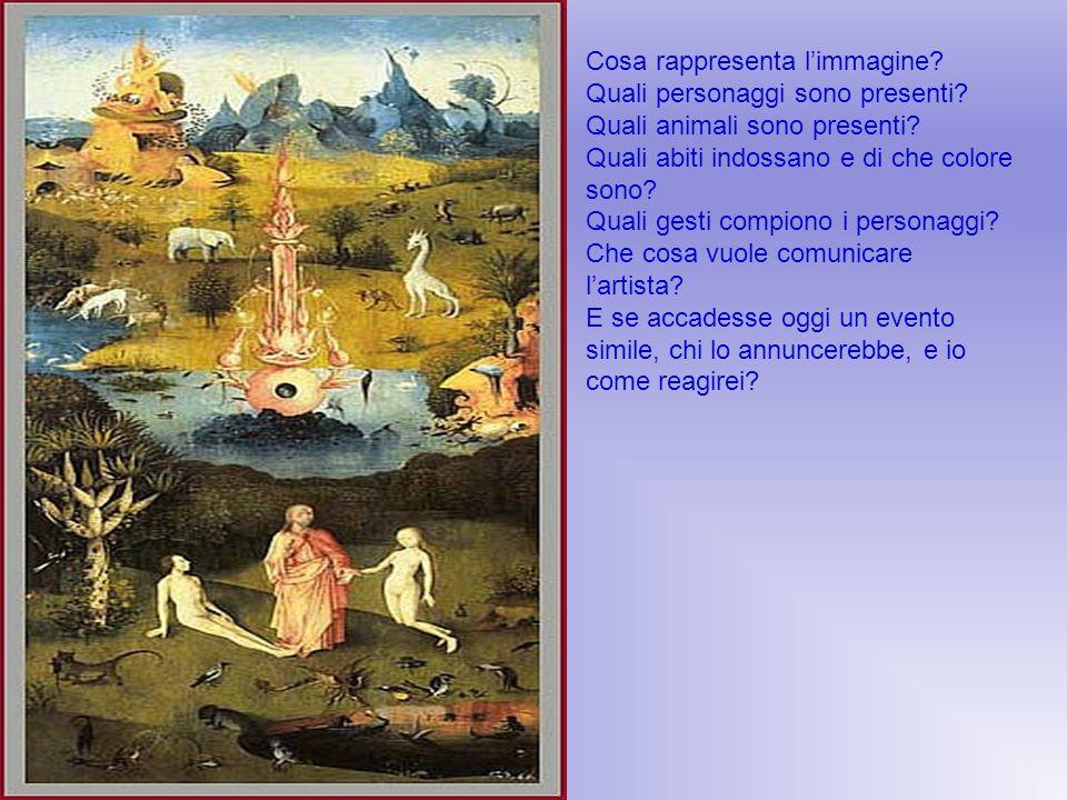 Cosa rappresenta l'immagine? Quali personaggi sono presenti? Quali animali sono presenti? Quali abiti indossano e di che colore sono? Quali gesti comp