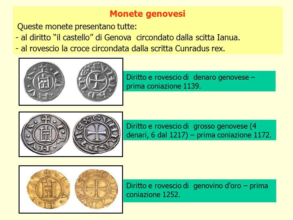 Diritto e rovescio di denaro genovese – prima coniazione 1139.
