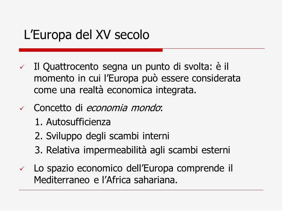 L'Europa del XV secolo Il Quattrocento segna un punto di svolta: è il momento in cui l'Europa può essere considerata come una realtà economica integrata.