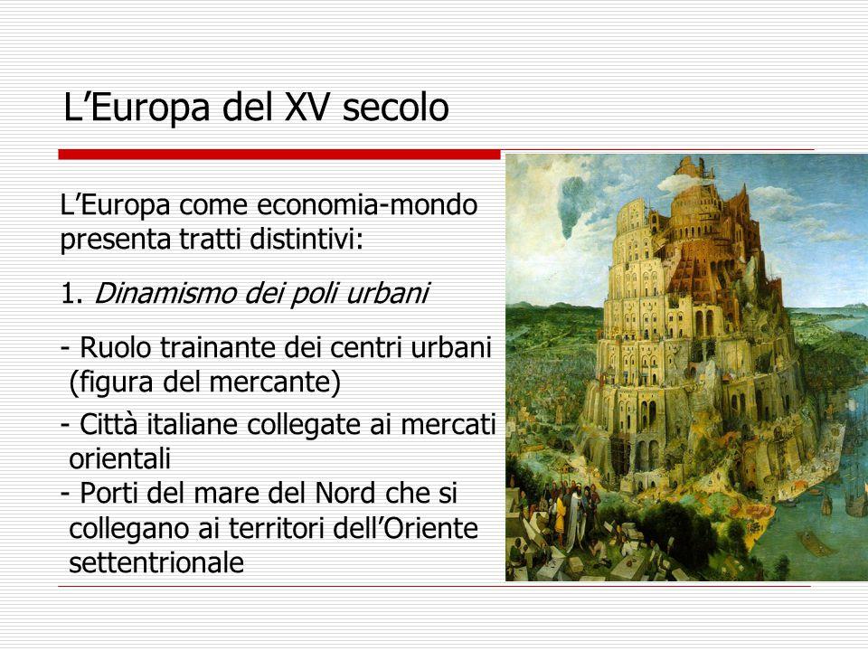 L'Europa del XV secolo L'Europa come economia-mondo presenta tratti distintivi: 1.