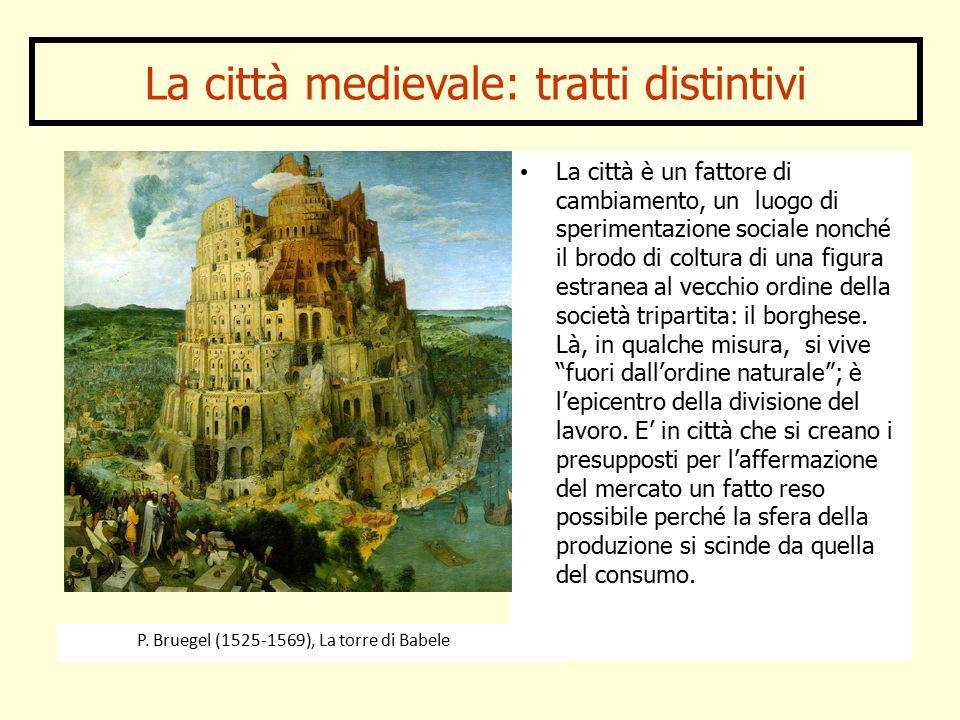La città medievale: tratti distintivi La città è un fattore di cambiamento, un luogo di sperimentazione sociale nonché il brodo di coltura di una figura estranea al vecchio ordine della società tripartita: il borghese.