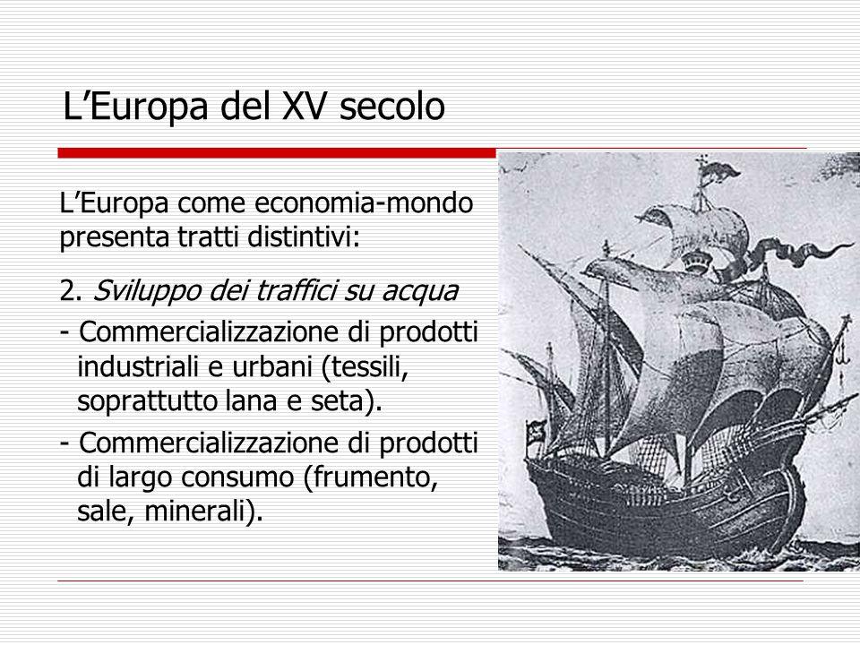 L'Europa del XV secolo L'Europa come economia-mondo presenta tratti distintivi: 2.