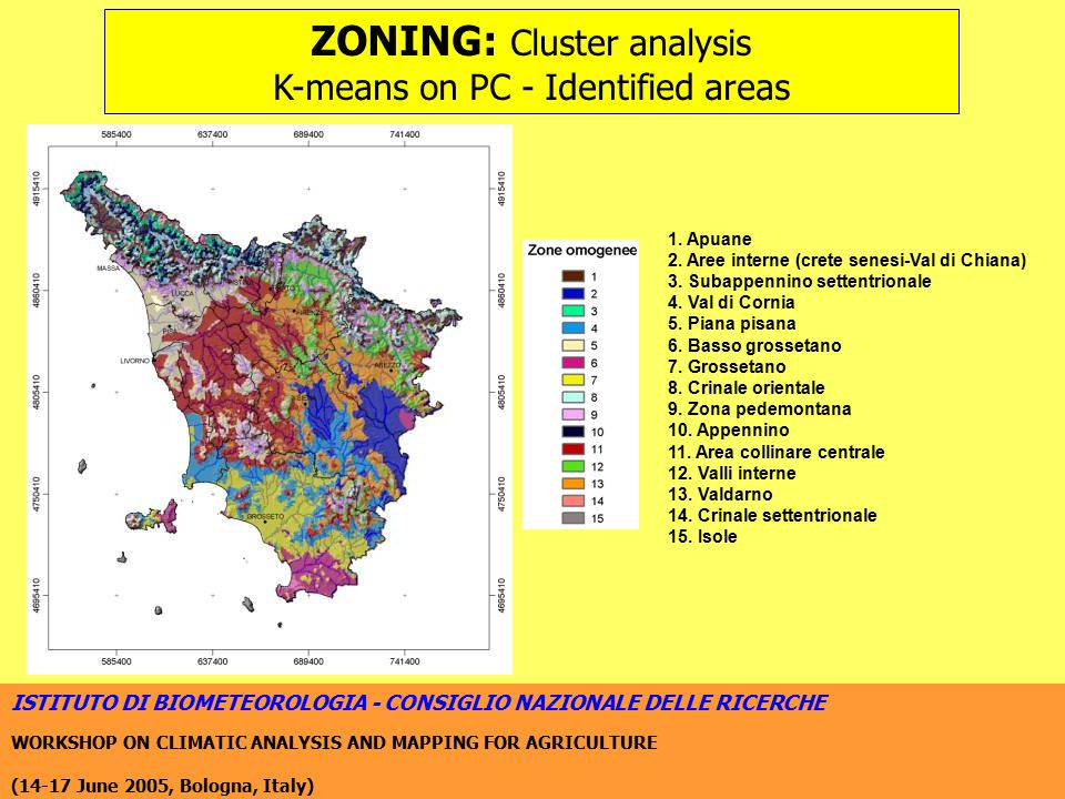ISTITUTO DI BIOMETEOROLOGIA - CONSIGLIO NAZIONALE DELLE RICERCHE WORKSHOP ON CLIMATIC ANALYSIS AND MAPPING FOR AGRICULTURE (14-17 June 2005, Bologna, Italy) ZONING: Cluster analysis K-means on PC - Identified areas 1.