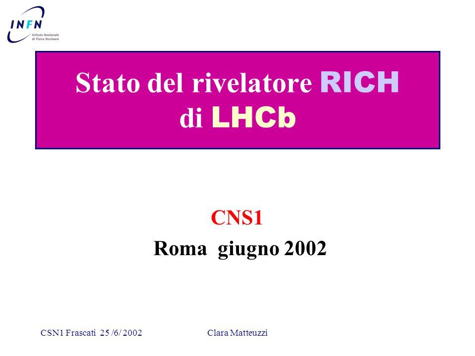 CSN1 Frascati 25 /6/ 2002Clara Matteuzzi RICH light RICH1: L1 trigger requires B-field (0 < z < 2200mm) HPD magnetic shielding requirements Vertical RICH1 design