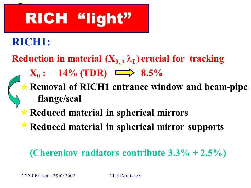 "CSN1 Frascati 25 /6/ 2002Clara Matteuzzi RICH ""light"" RICH1: Reduction in material (X 0,, I ) crucial for tracking X 0 : 14% (TDR) 8.5% Removal of RIC"