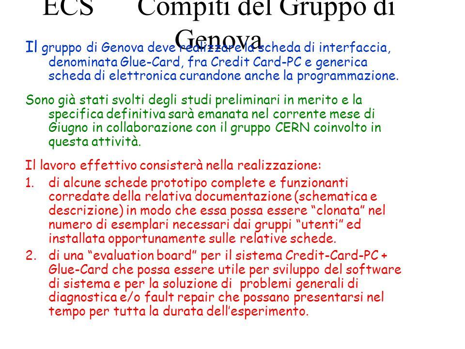 ECS Compiti del Gruppo di Genova Il gruppo di Genova deve realizzare la scheda di interfaccia, denominata Glue-Card, fra Credit Card-PC e generica scheda di elettronica curandone anche la programmazione.
