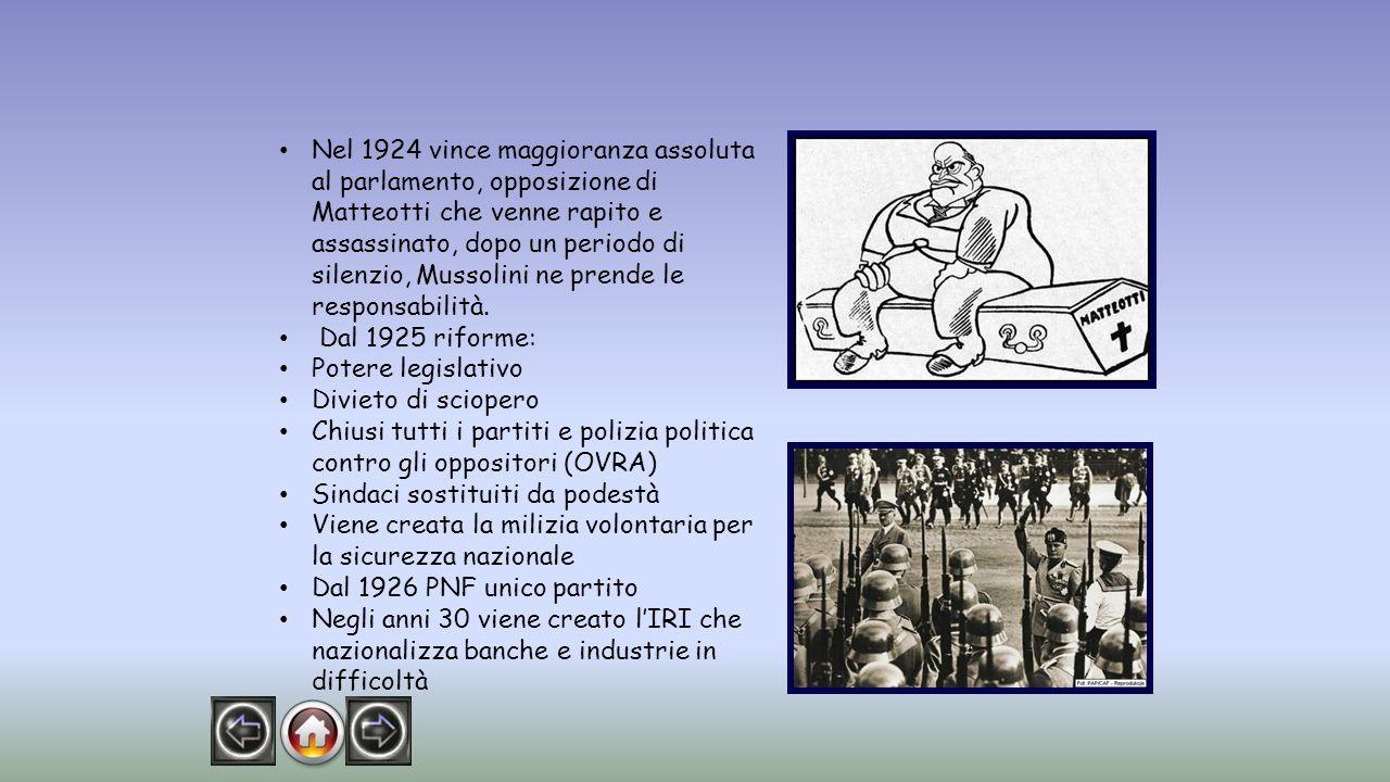 Mussolini vuole controllare tutti gli aspetti della società.