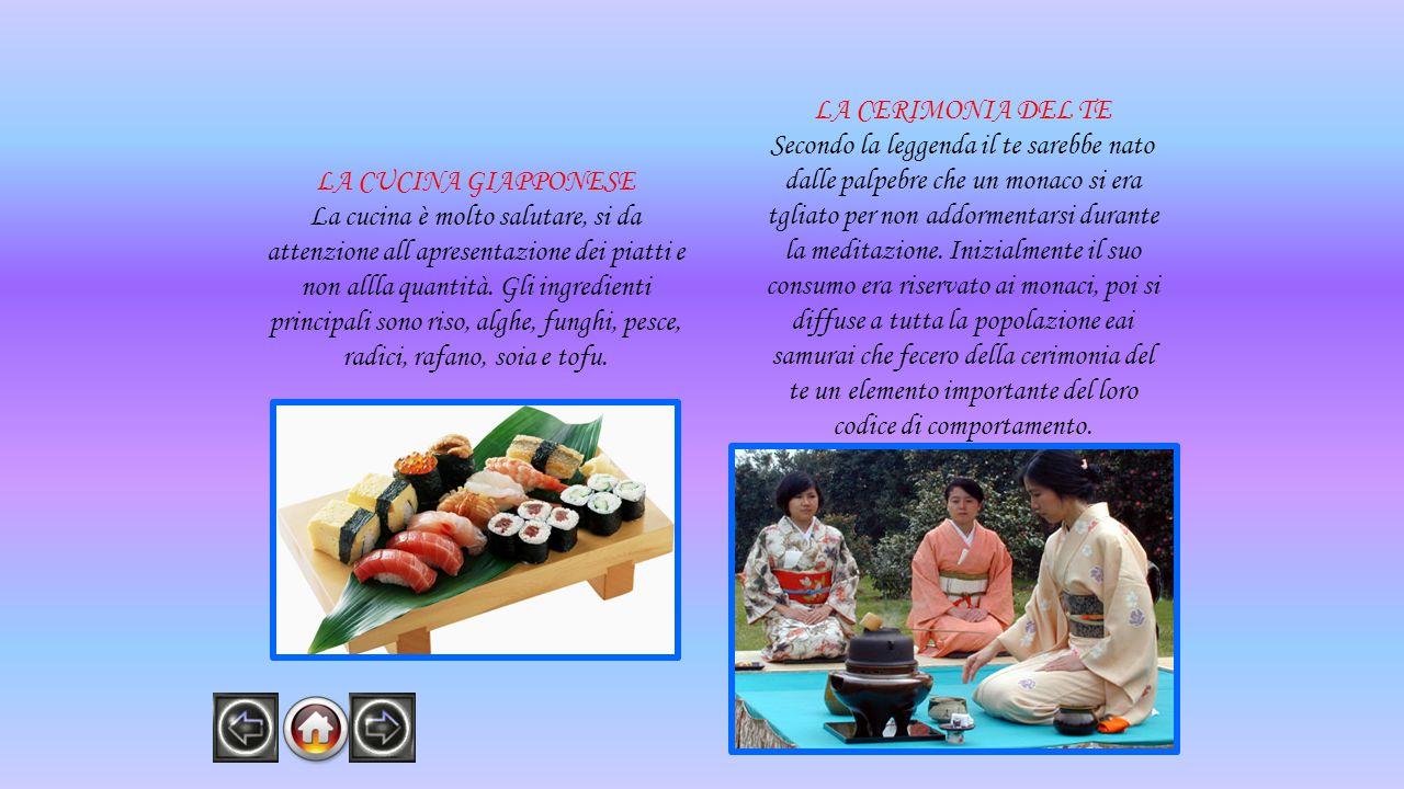 LA CUCINA GIAPPONESE La cucina è molto salutare, si da attenzione all apresentazione dei piatti e non allla quantità. Gli ingredienti principali sono