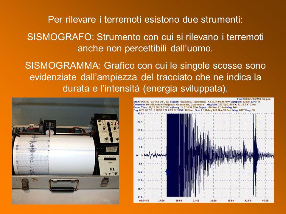 Per rilevare i terremoti esistono due strumenti: SISMOGRAFO: Strumento con cui si rilevano i terremoti anche non percettibili dall'uomo. SISMOGRAMMA: